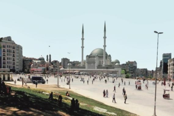 Taksim Camisi'nin minaresi görünmeye başladı!